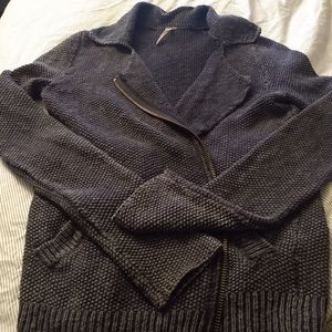 Free people knitted zip up sweater